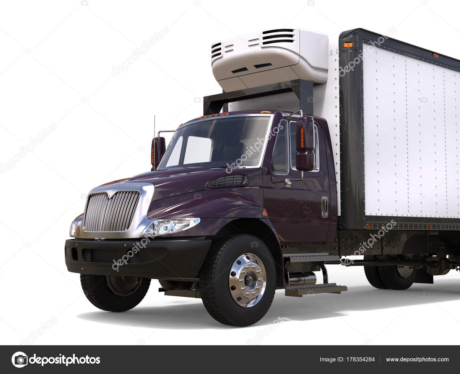 Amerikanischer Kühlschrank Transportieren : Dunkel lila kühlschrank lkw schneiden closeup aufnahme u stockfoto