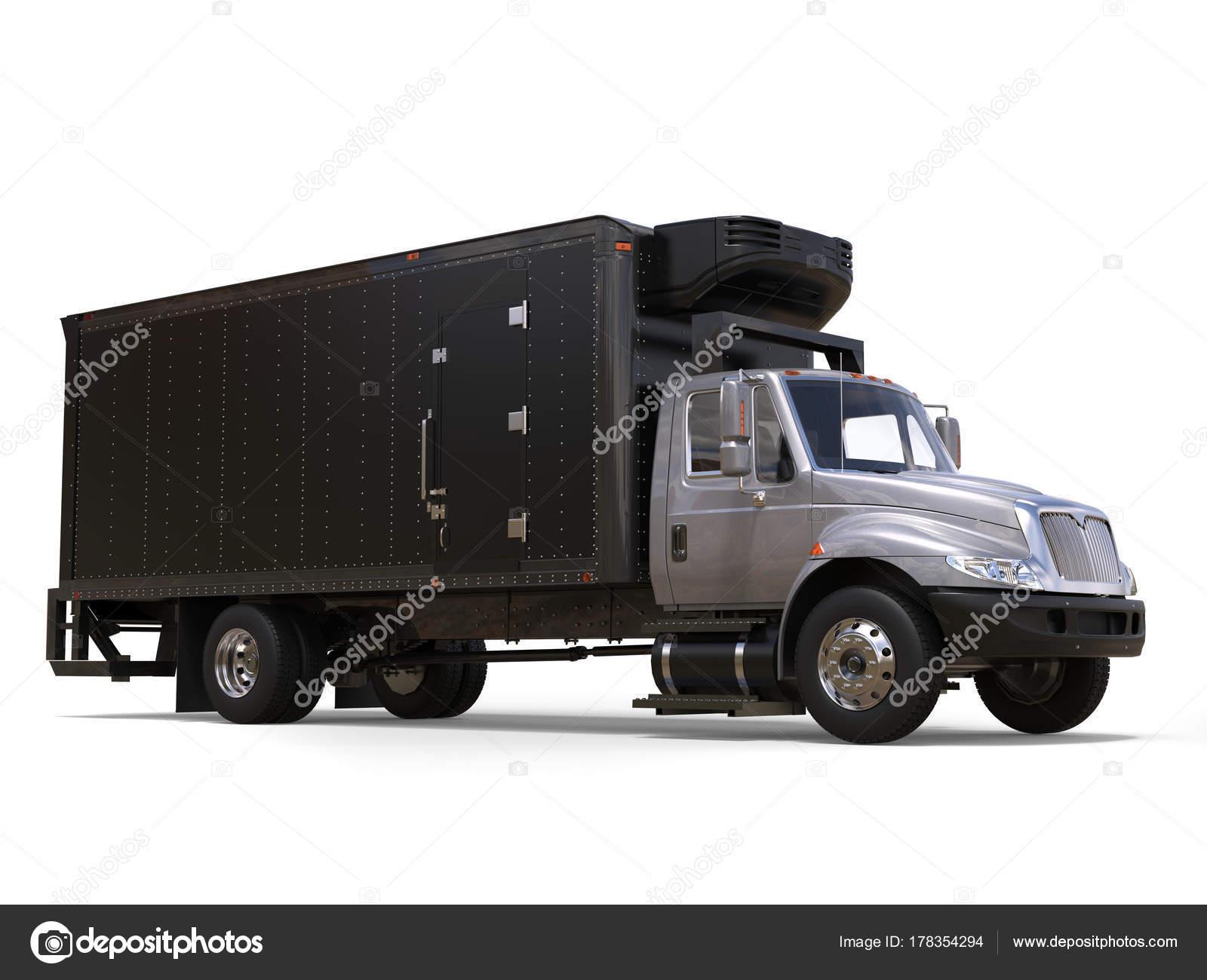 Amerikanischer Kühlschrank Transportieren : Silber kühlschrank lkw mit unit schwarz trailer u stockfoto