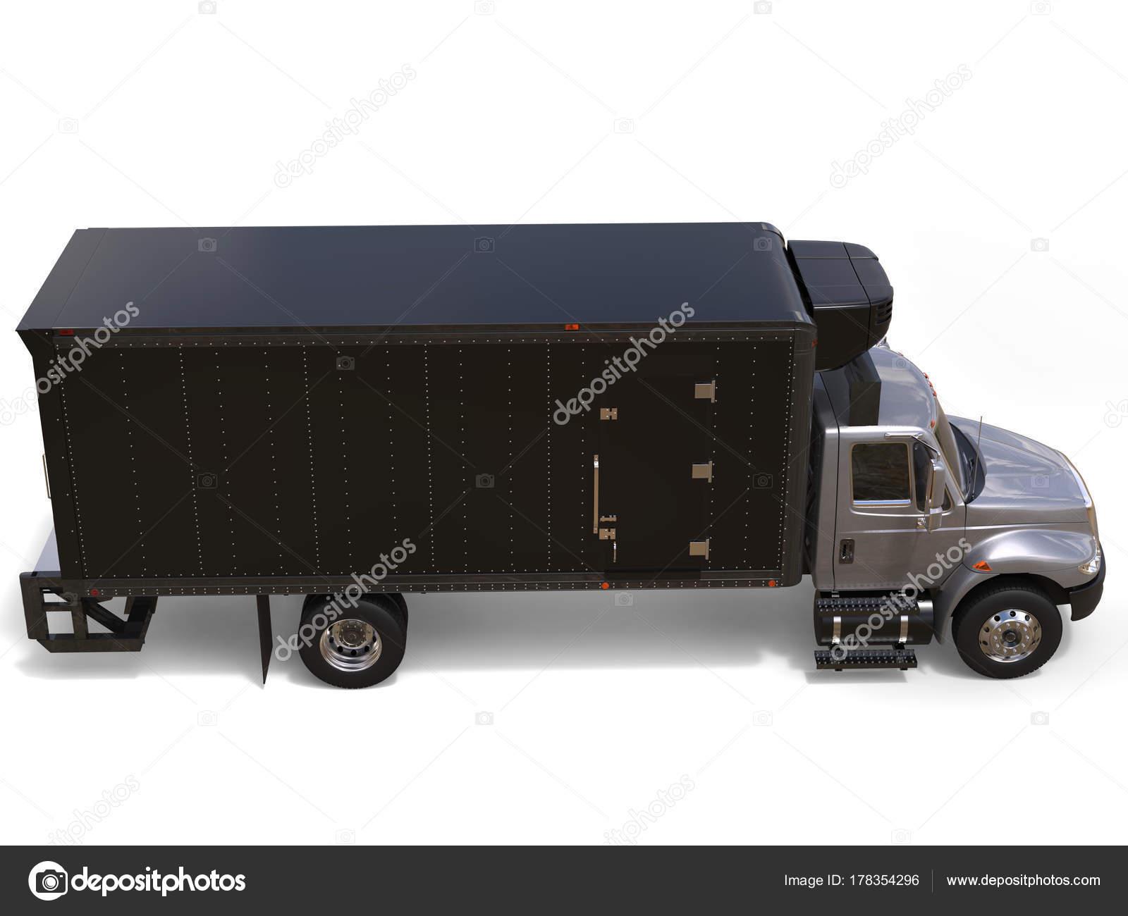 Amerikanischer Kühlschrank Transportieren : Silber kühlschrank lkw mit schwarzen anhänger einheit von oben