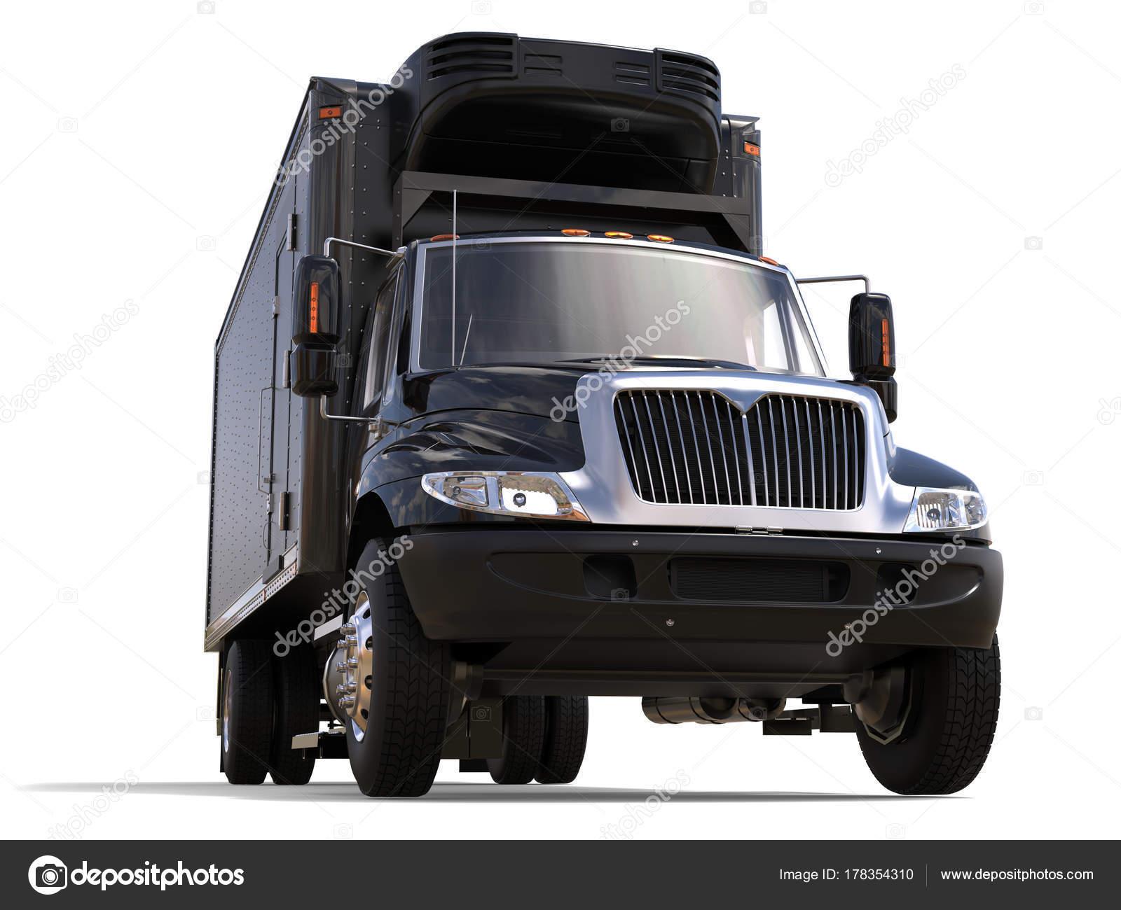 Amerikanischer Kühlschrank Transportieren : Schwarzer kühlschrank lkw mit unit schwarz trailer vorderansicht