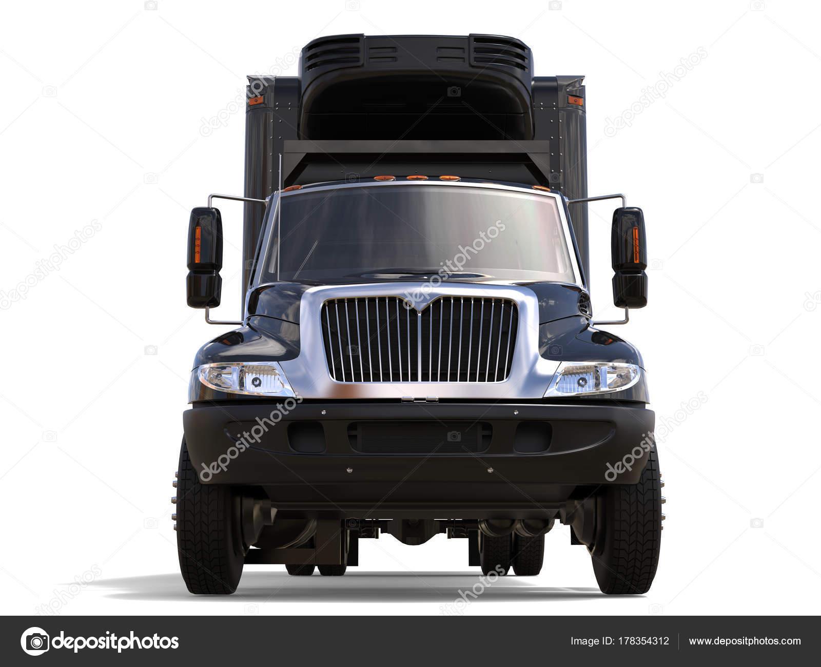 Kühlschrank Mit Auto Transportieren : Schwarzer kühlschrank lkw mit unit schwarz trailer vorderansicht