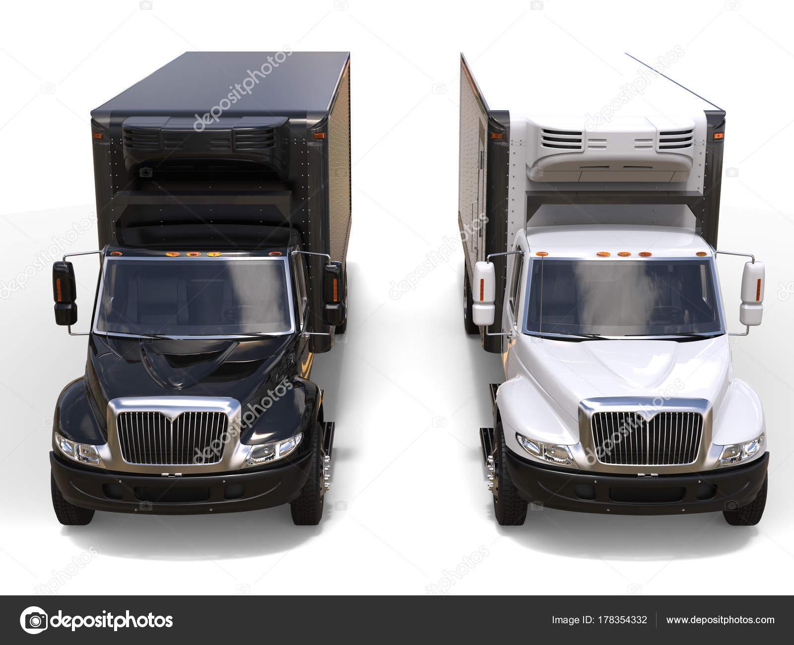 Side By Side Kühlschrank Transportieren : Schwarz weiß kühlschrank lkw nebeneinander top vorderansicht