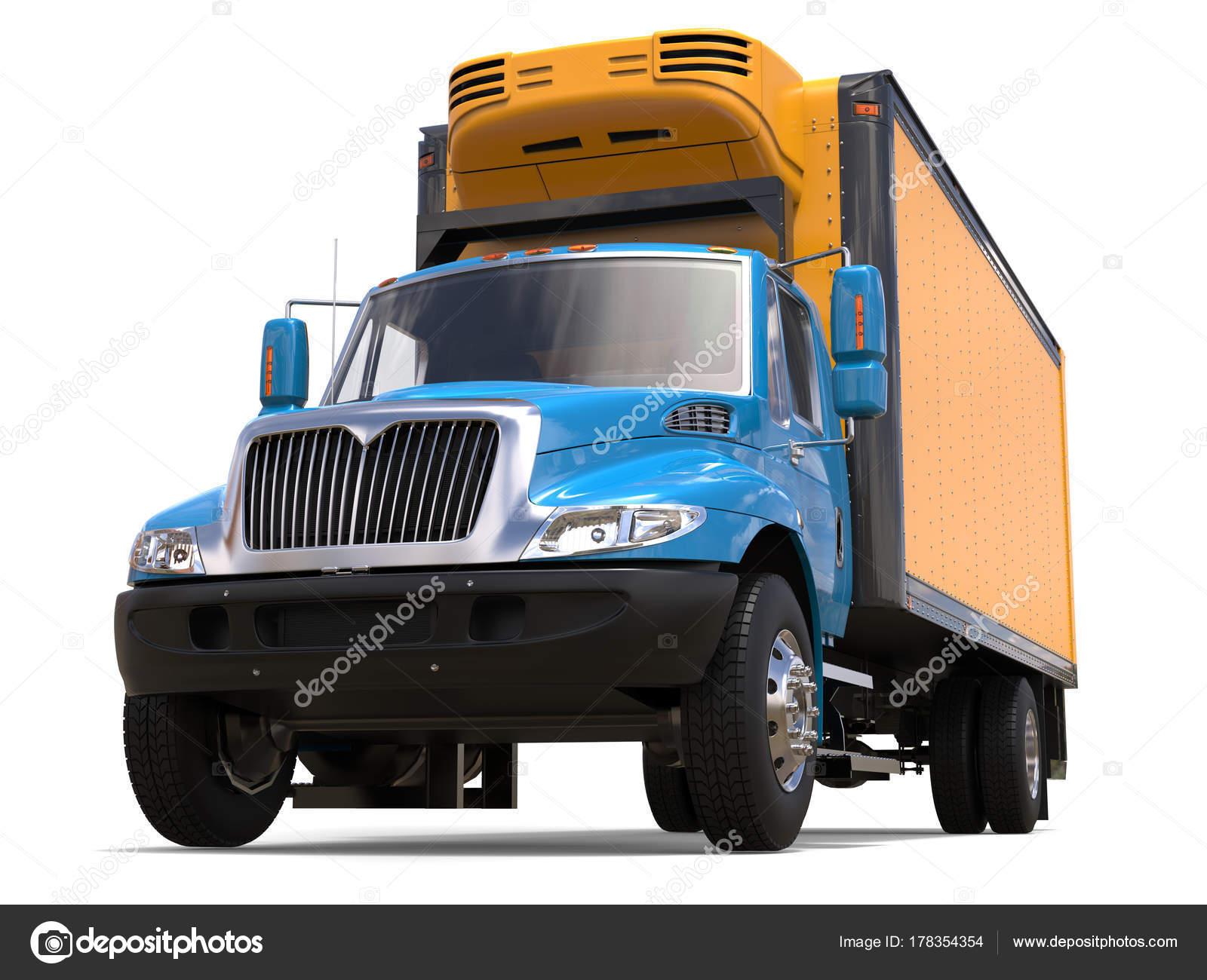 Amerikanischer Kühlschrank Transportieren : Blaue und gelbe kühlschrank lkw niedrigen winkel gedreht