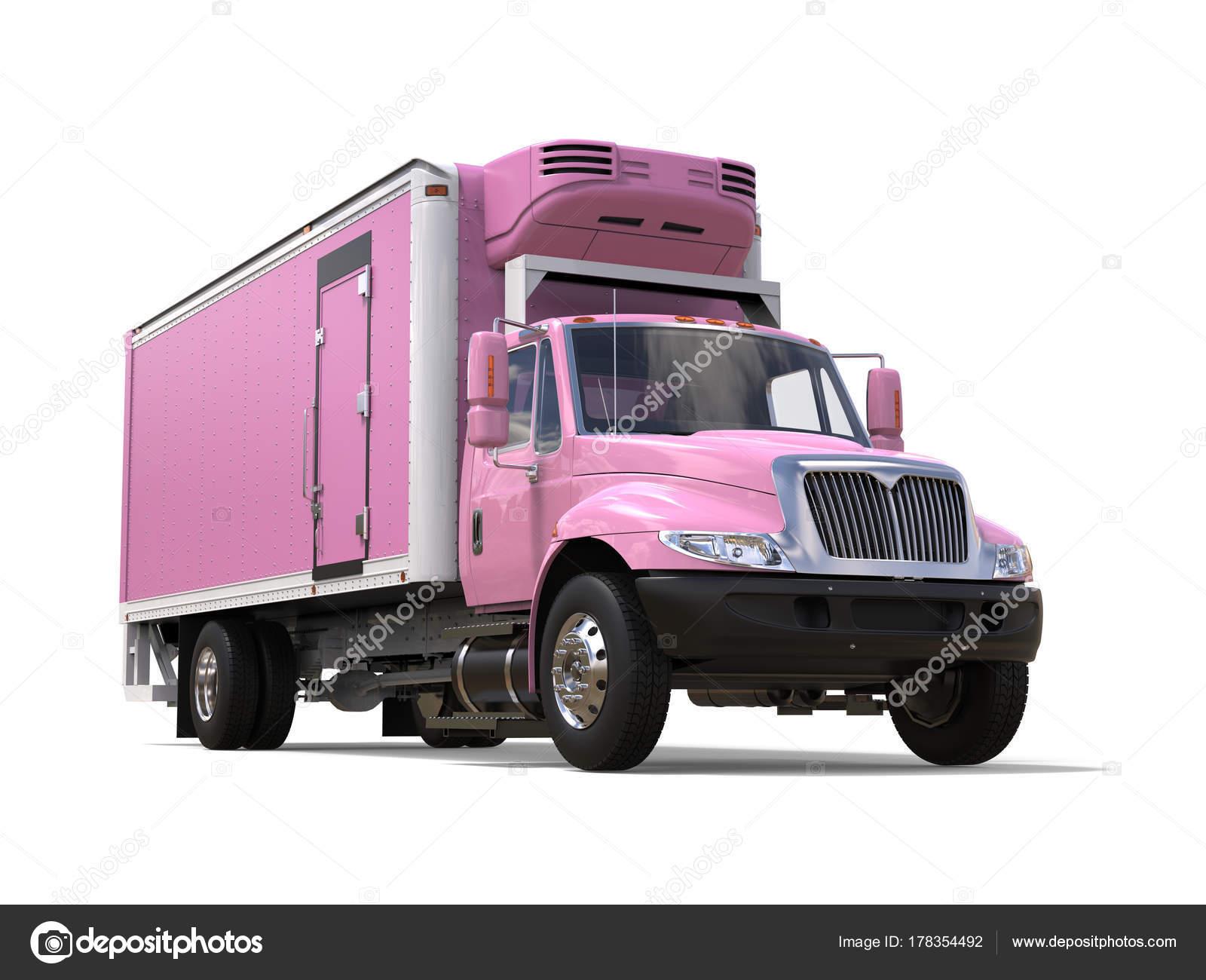 Amerikanischer Kühlschrank Transportieren : Rosa kühlschrank lkw ladung closeup erschossen u stockfoto