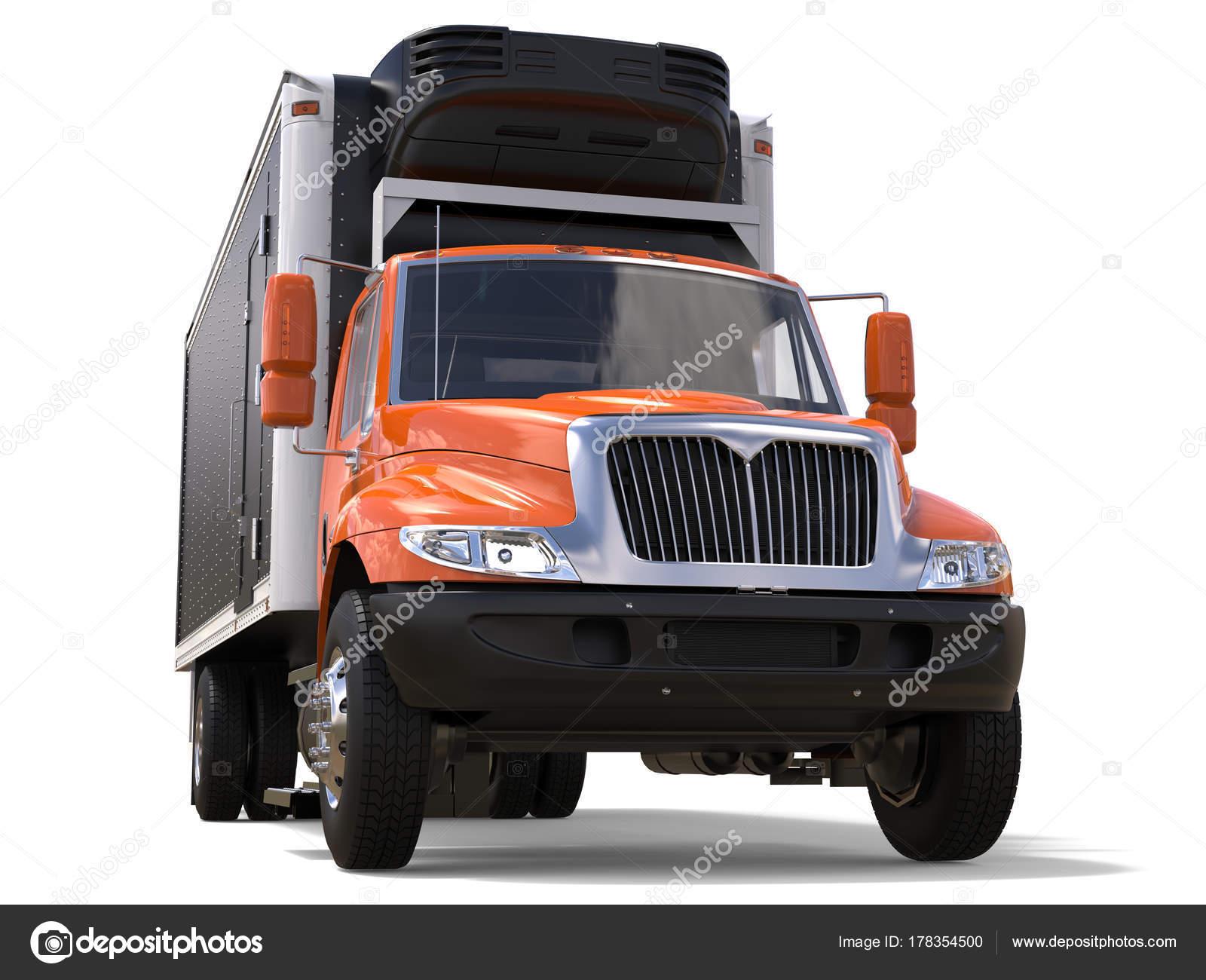 Kühlschrank Mit Auto Transportieren : Lkw orange ladung kühlschrank mit schwarzem anhänger u stockfoto