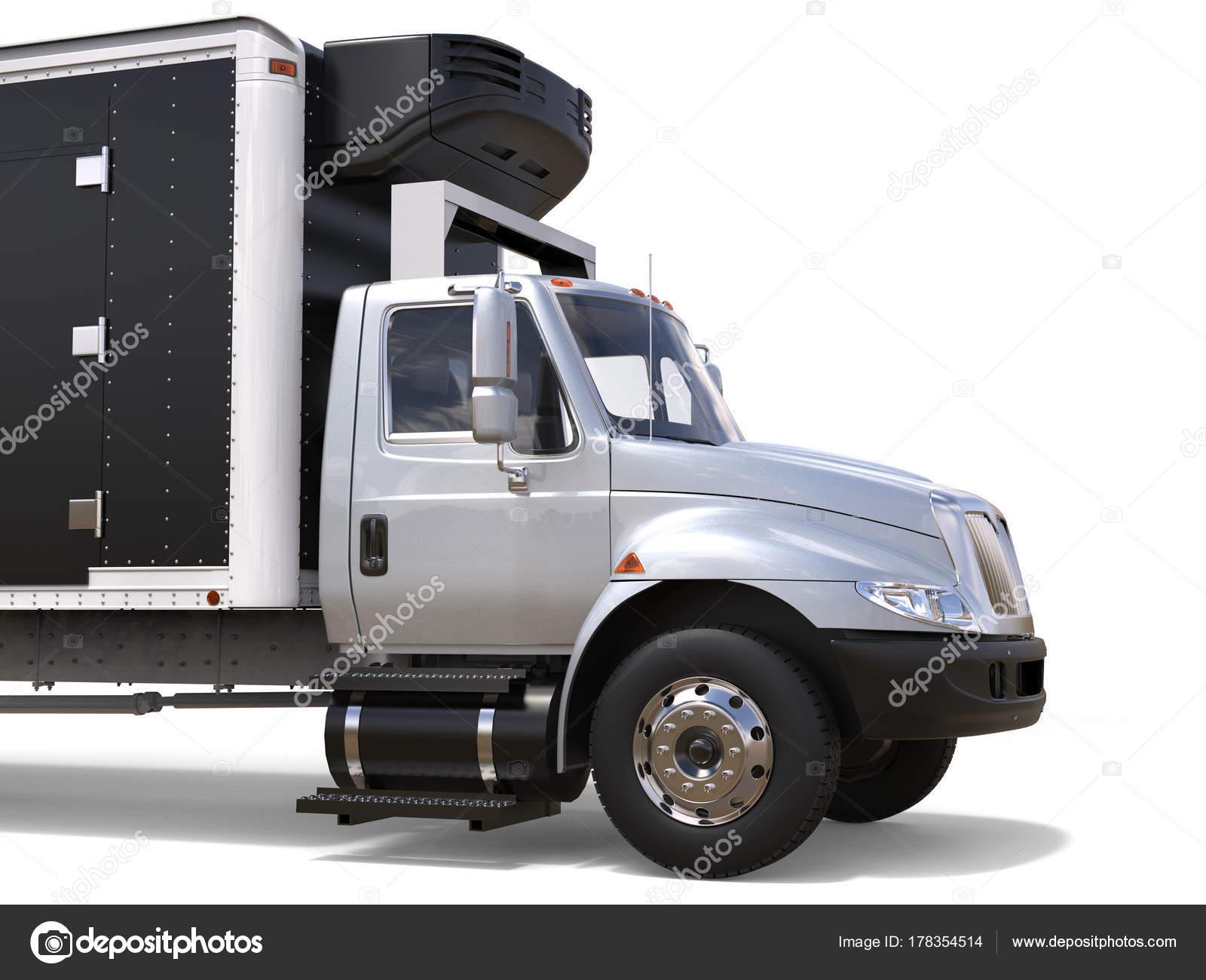 Amerikanischer Kühlschrank Transportieren : Silber kühlschrank lkw front nahaufnahme geschnitten schuss