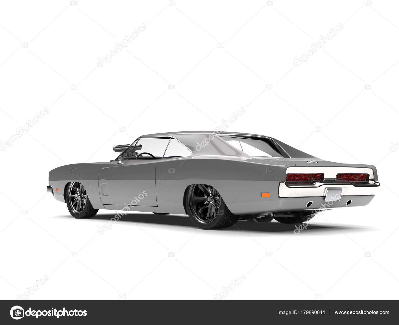 Cool Vintage Silver American Muscle Car Rear View Stock Photo