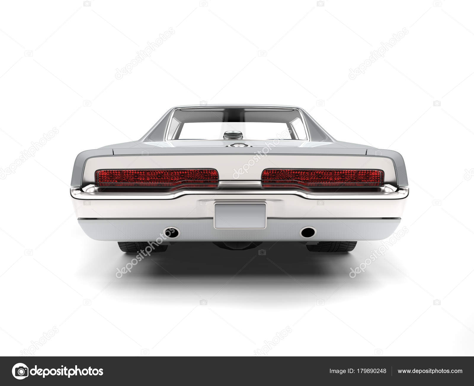 Bright Silver American Vintage Muscle Car Back View — Stock Photo ...