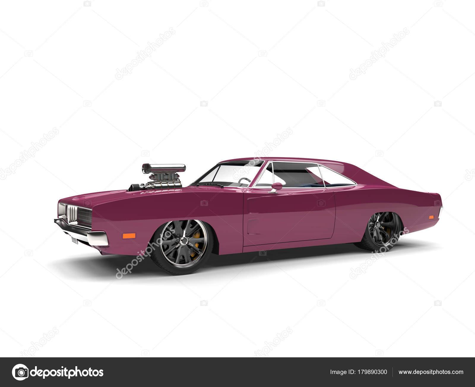 Lavender Purple Vintage American Muscle Car Beauty Shot — Stock ...