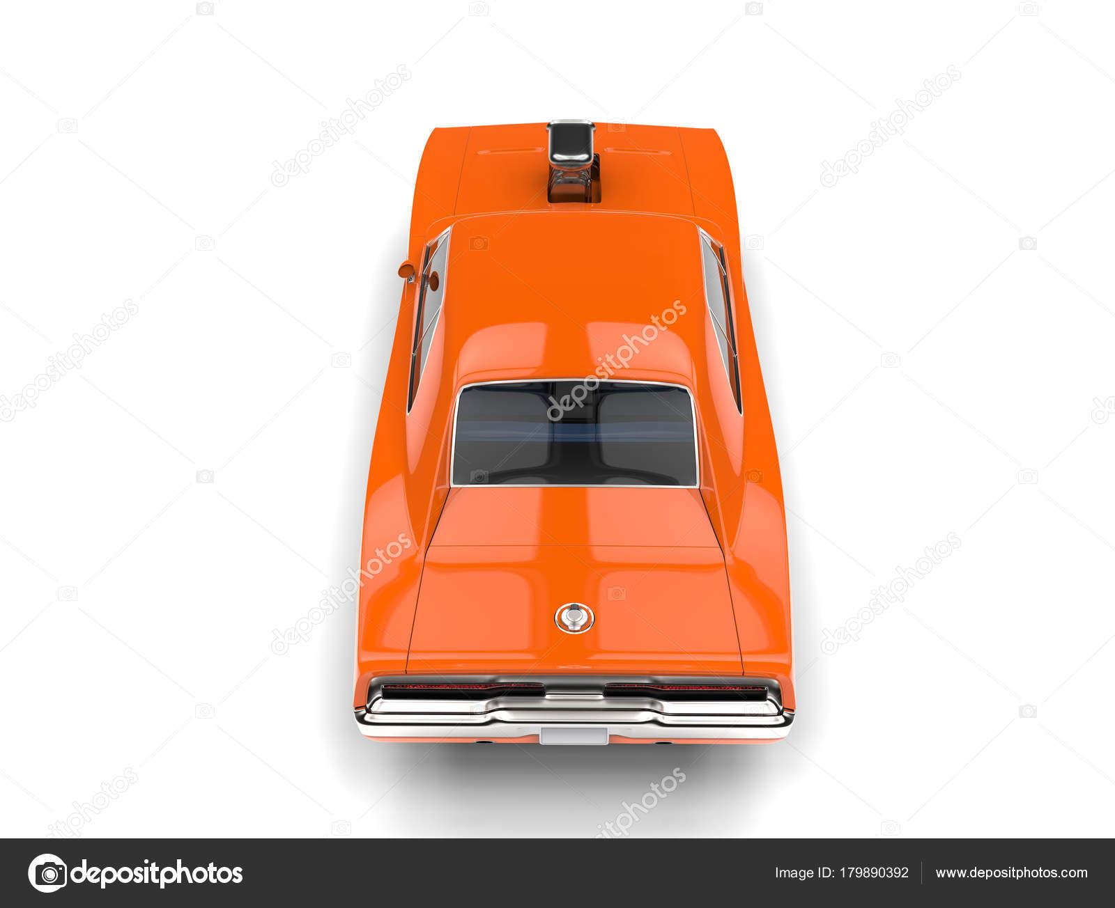 Vintage Orange American Muscle Car Top View — Stock Photo ...