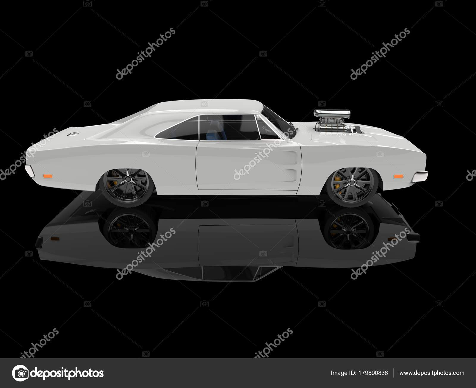 White Vintage American Muscle Car Black Showroom Side View Stock