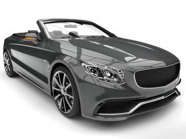 Ash gray modern luxury convertible car - headlight closeup shot