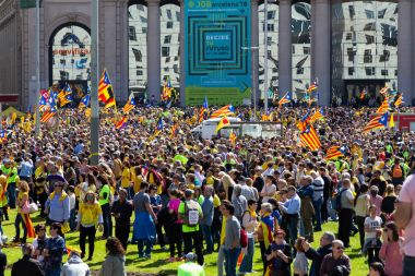Peaceful demonstration in Catalonia for freedom