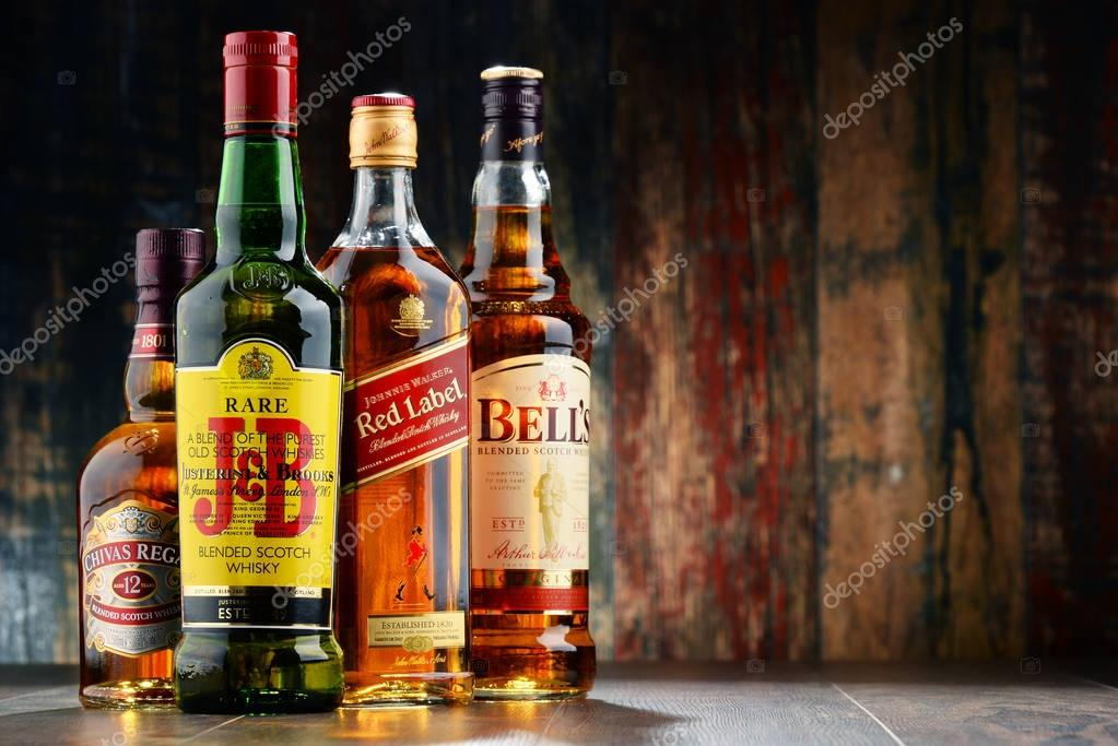 Composition with bottles of popular whiskey brands