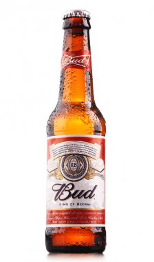 Bottle of Budweiser beer isolated on white