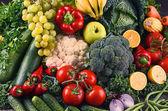 Fotografie Složení s řadou raw bio zeleniny a ovoce