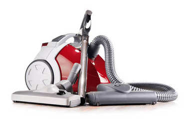 Canister vacuum cleaner for home use isolated on white