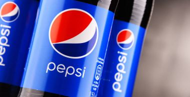 Plastic bottles of carbonated soft drink Pepsi