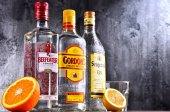 Bottles of popular gin brands