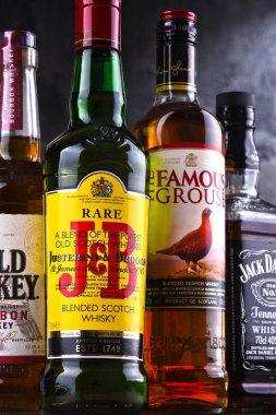 Bottles of several global whiskey brands