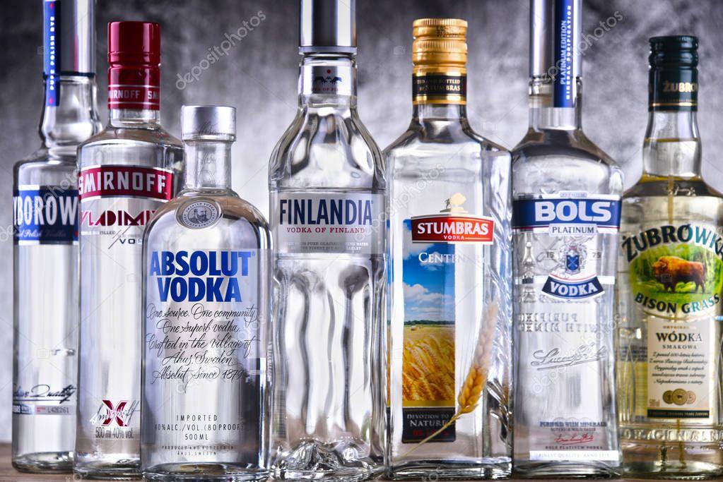 bouteilles de plusieurs marques mondiales de vodka photo ditoriale monticello 191464538. Black Bedroom Furniture Sets. Home Design Ideas