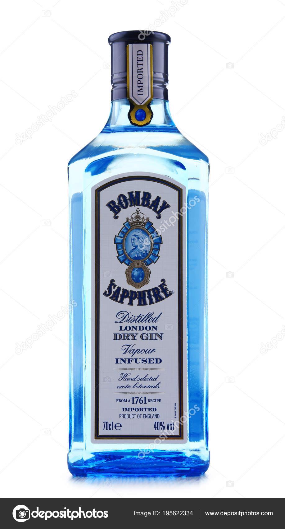 Botella de Bombay Sapphire Gin — Foto editorial de stock