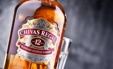 Bottle of Chivas Regal 12 blended Scotch whisky