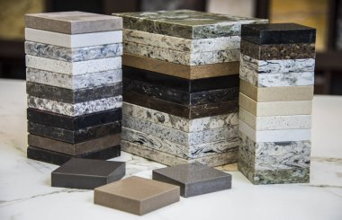 Granite Countertop samples. Marble, Stone Material, Stone - Object, Tile, Construction Material