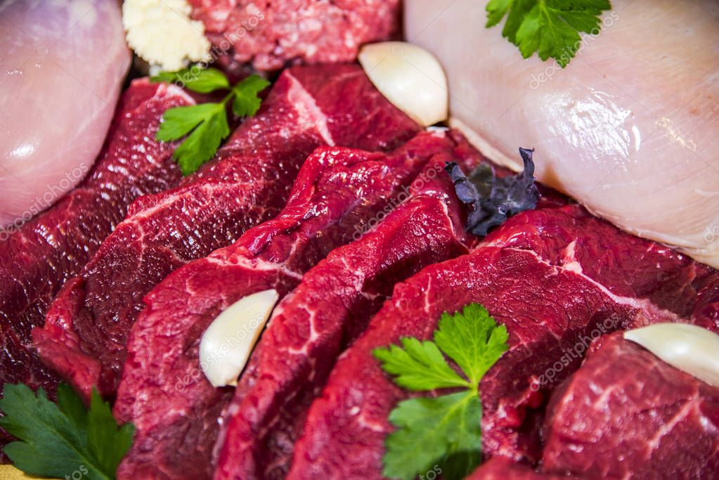 Assorted raw meats. Meat, Raw Food, Beef, Sausage, Chicken Meat