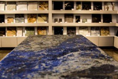 Kitchen countertop blue