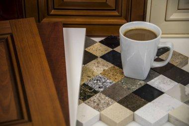 Kitchen wood door and stone countertop color samples