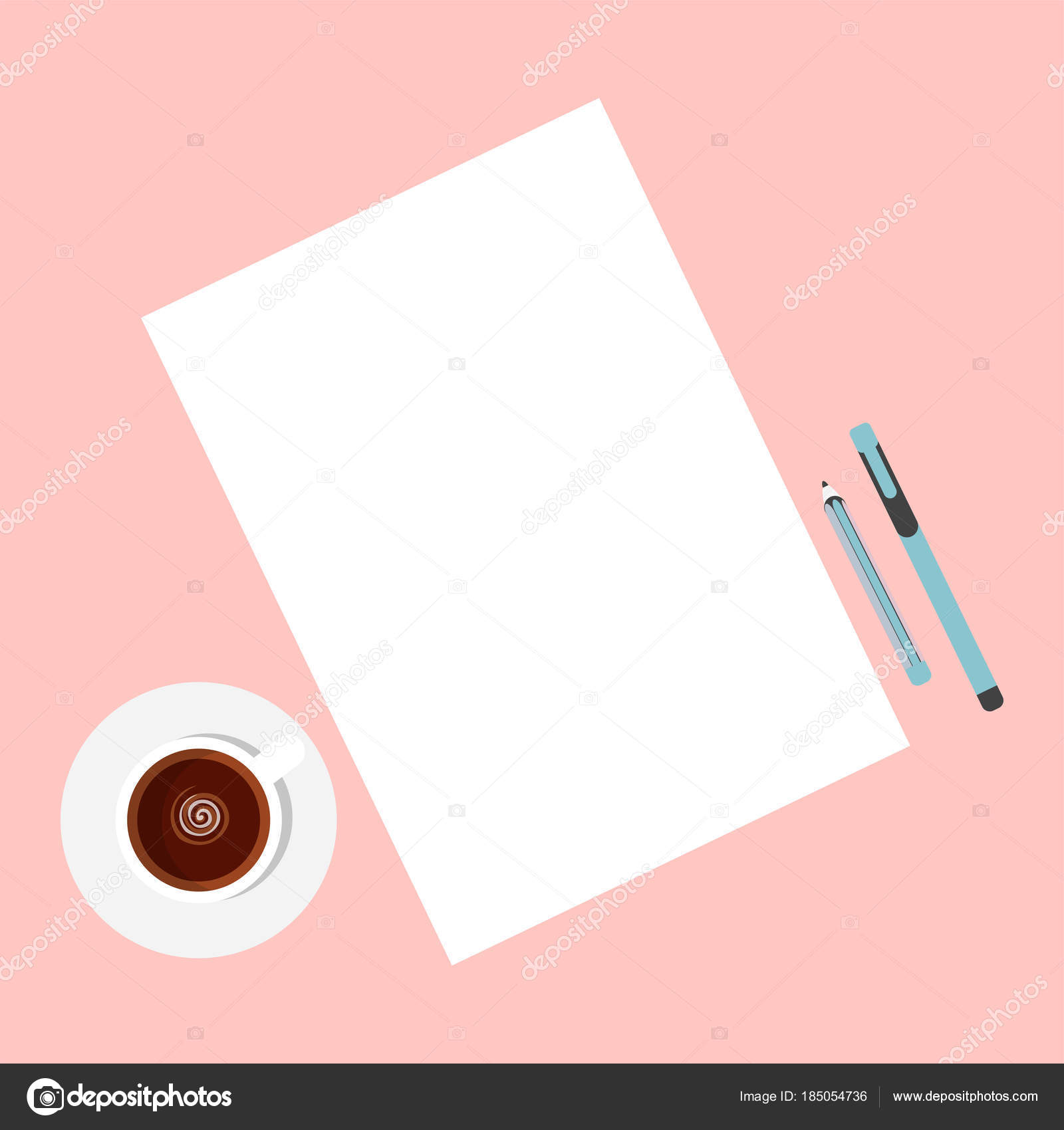 flat template sheets paper cup coffee desk stock vector