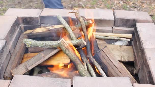 firewood is burning inside the grill made of stones. A man puts new branches and planks, a lot of smoke because of the wind. Air pollution due to burning