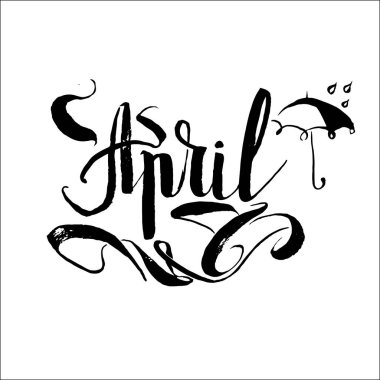 April rain umbrella vector lettering