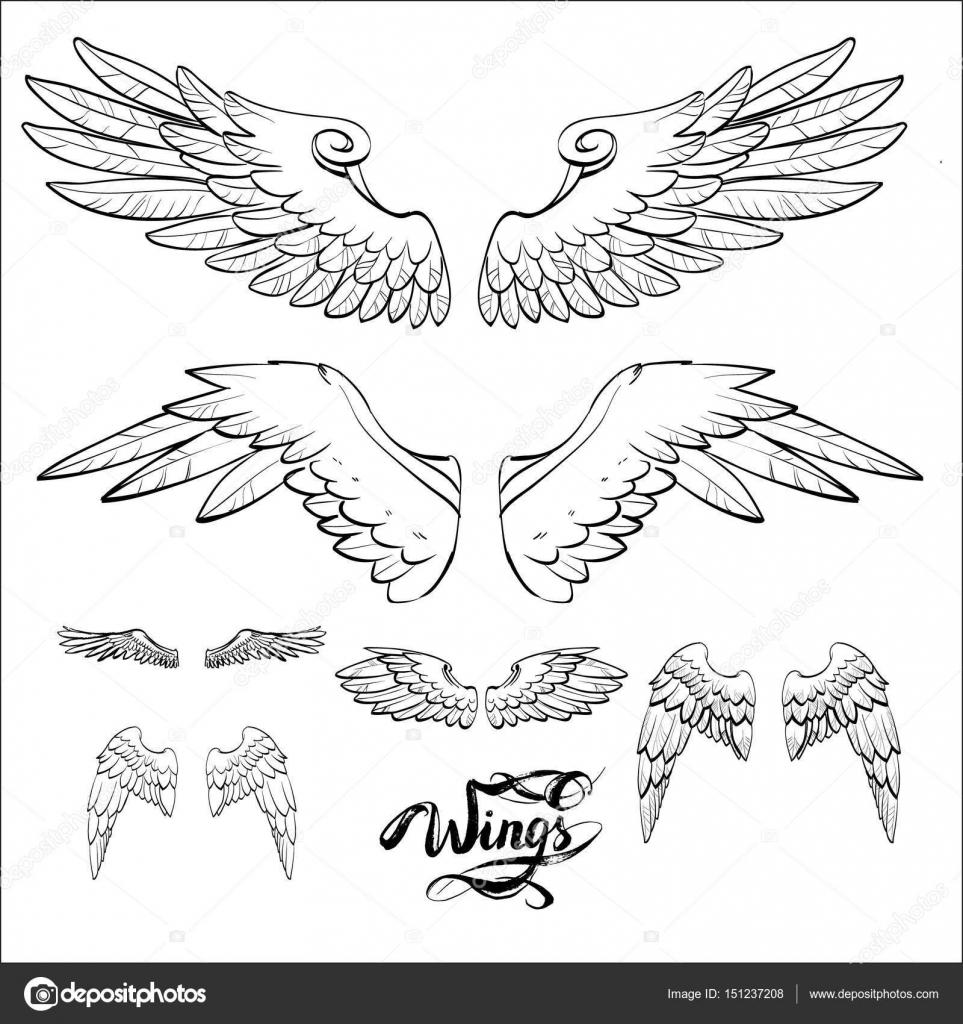 Ailes d ange vecteur lettrage dessin image vectorielle - Ailes d ange dessin ...