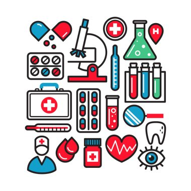 Medical icons isolated on white background. Vector illustration