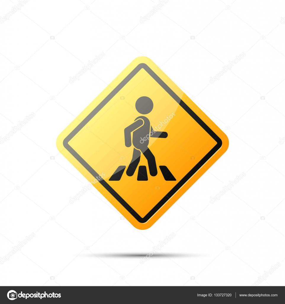 panneau de signalisation jaune avec pi ton sur le passage pour pi tons vector image. Black Bedroom Furniture Sets. Home Design Ideas