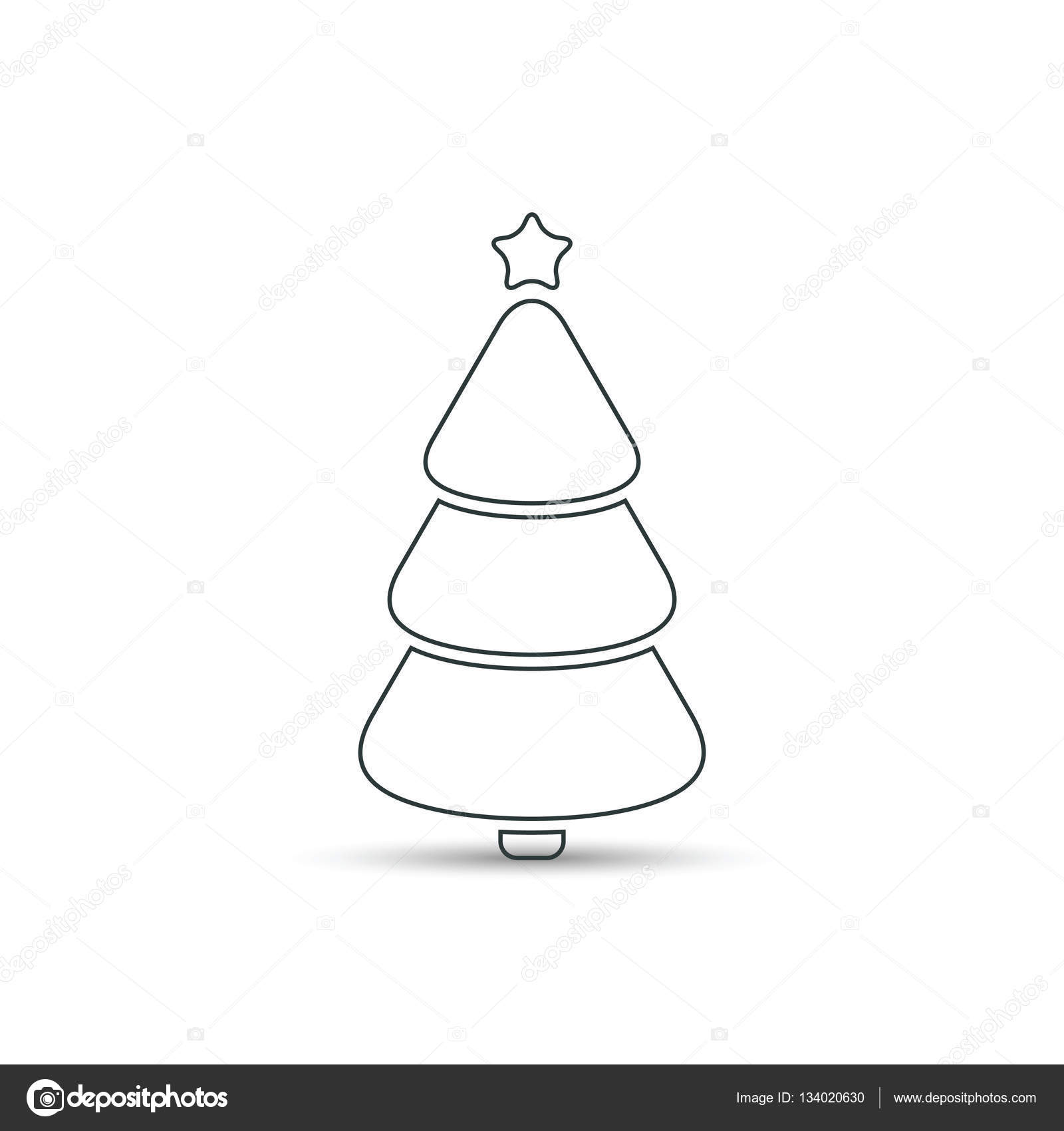 Christmas Tree Outline Icon Vector Vector Image By C Tatianasun Vector Stock 134020630