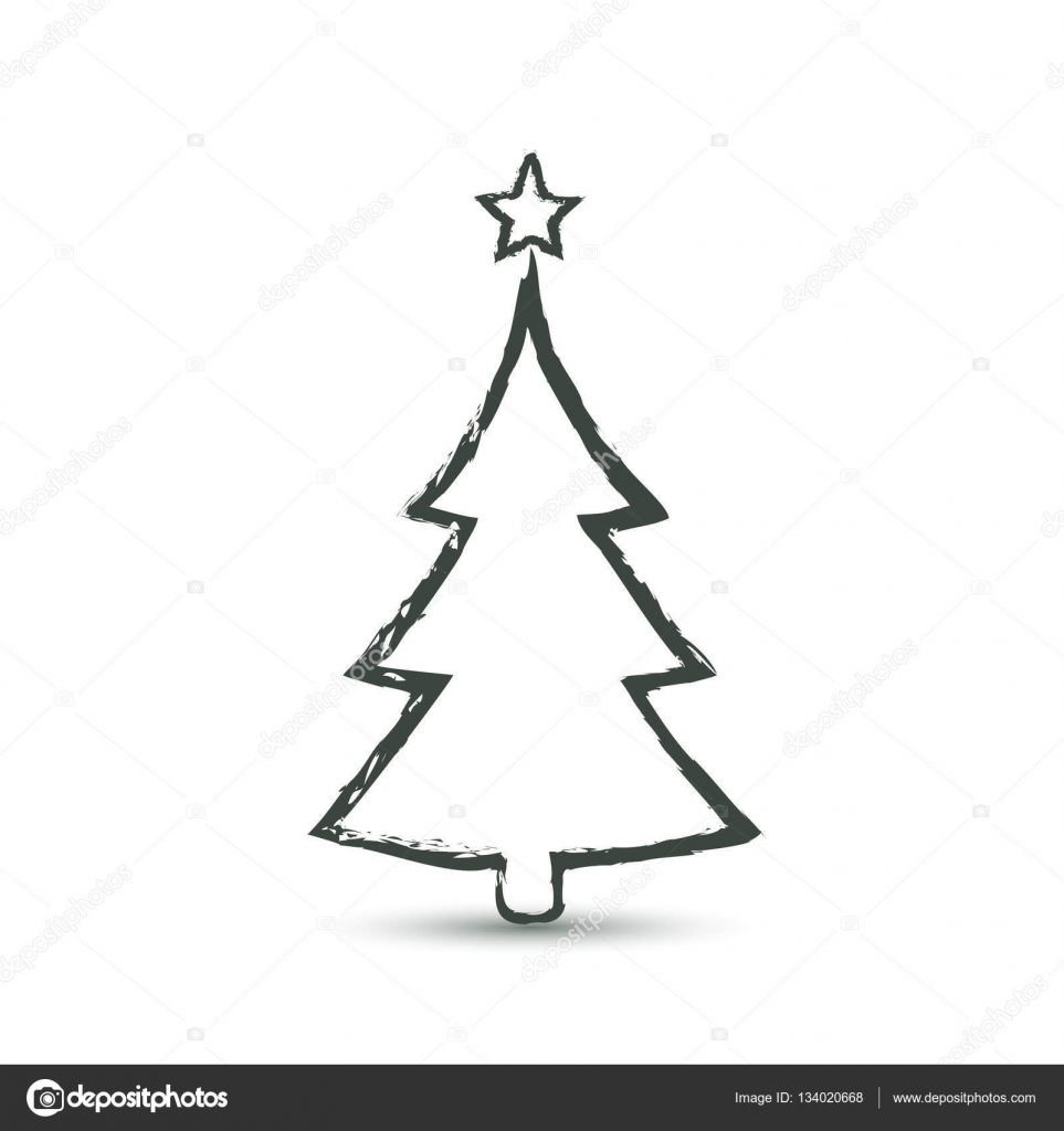 Christmas Tree Outline Grunge Icon Vector Vector Image By C Tatianasun Vector Stock 134020668