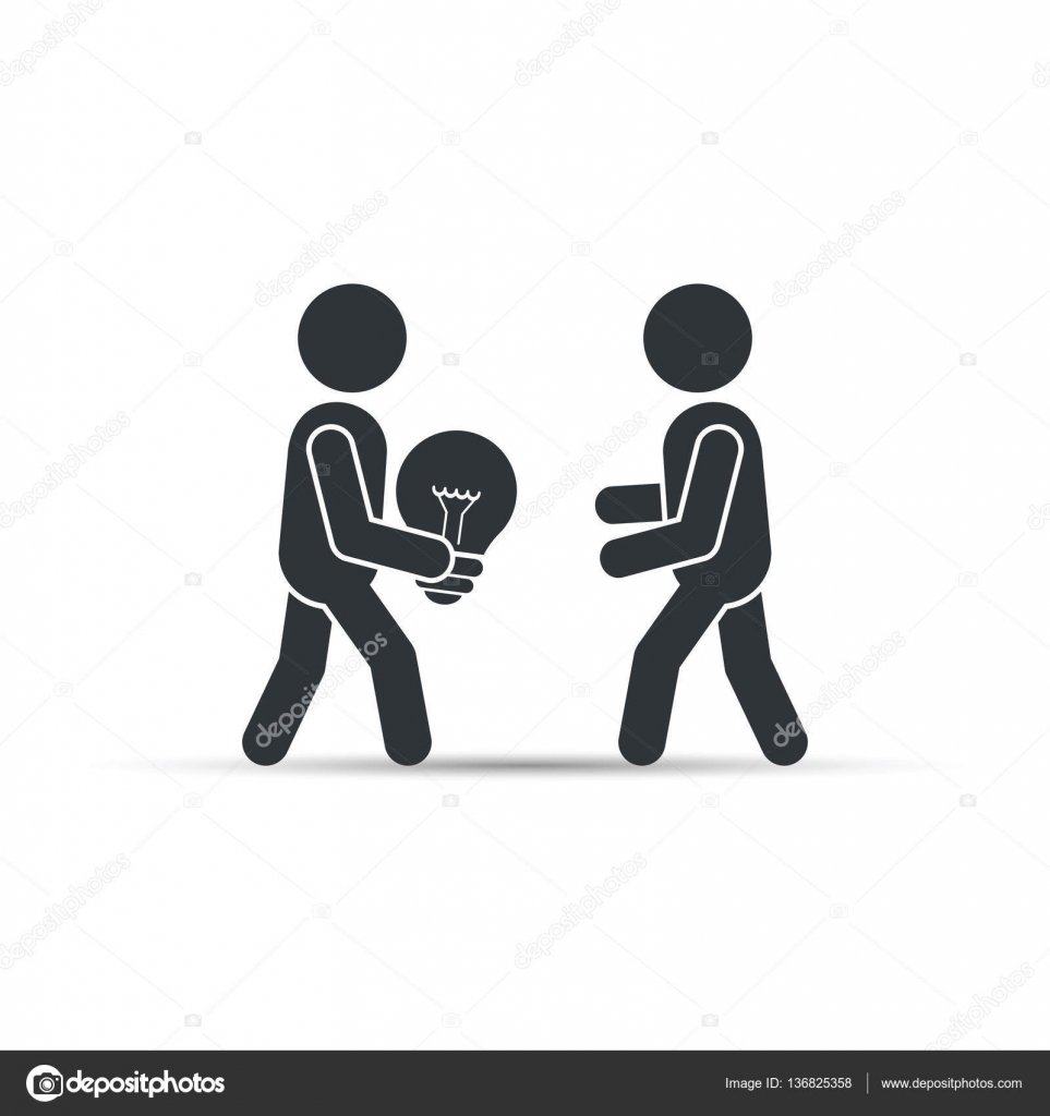 Man Gives The Other Person An Idea Light Bulb Vector Stock