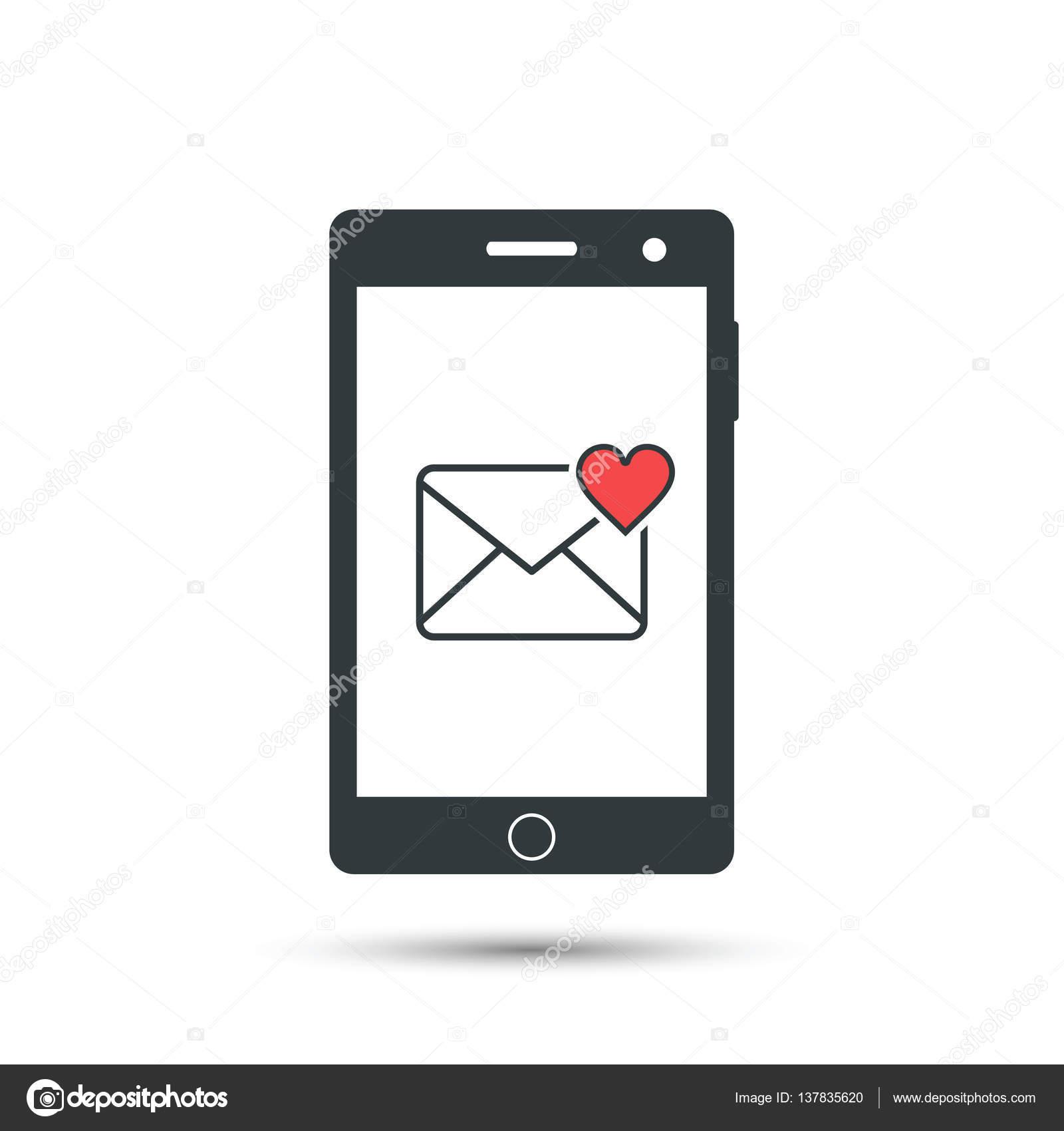love message pop up on smart phone display vector illustration vector by tatianasun