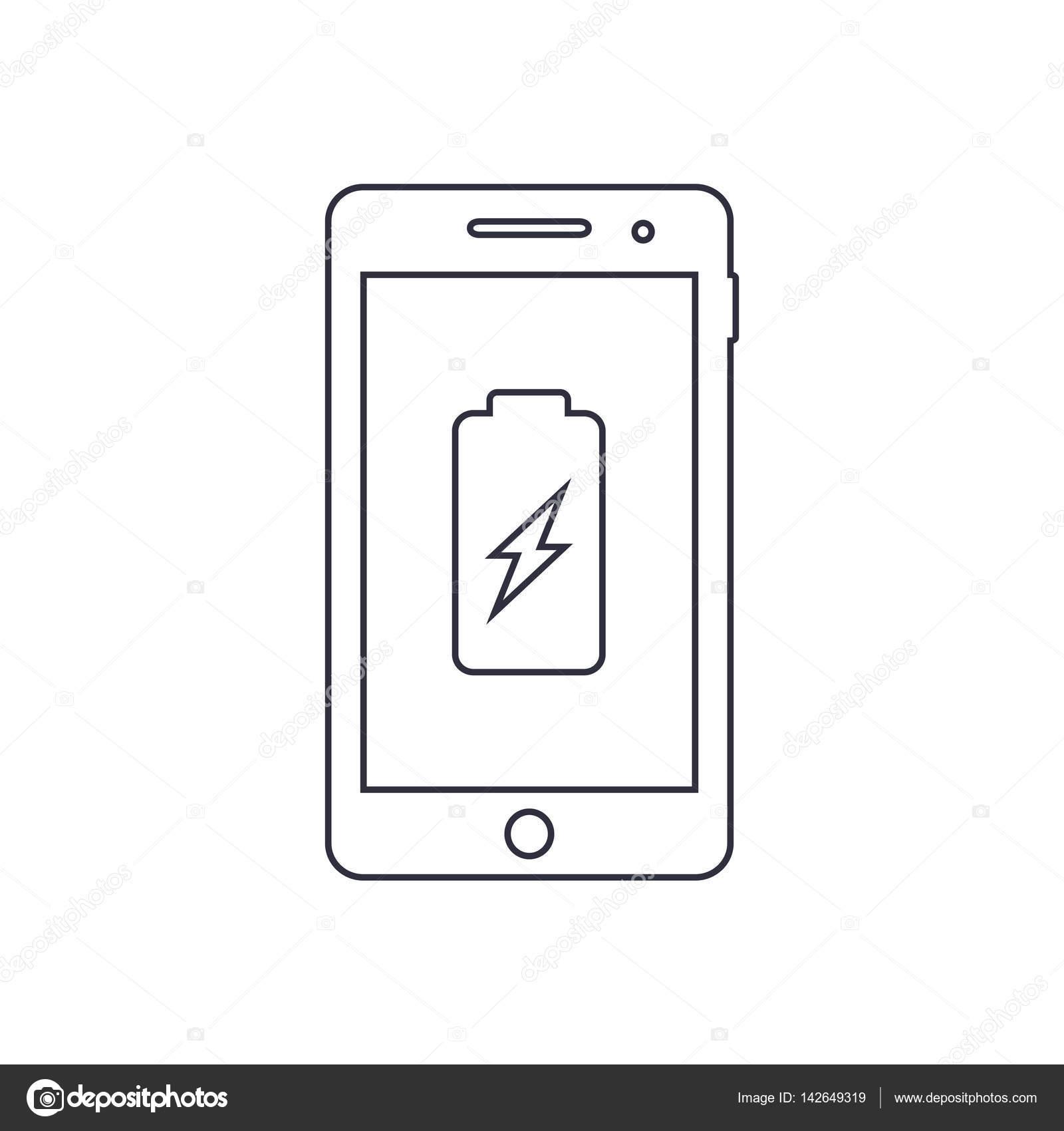 Smartphone Akku Umriss Ladesymbol. Vektor — Stockvektor © tatianasun ...