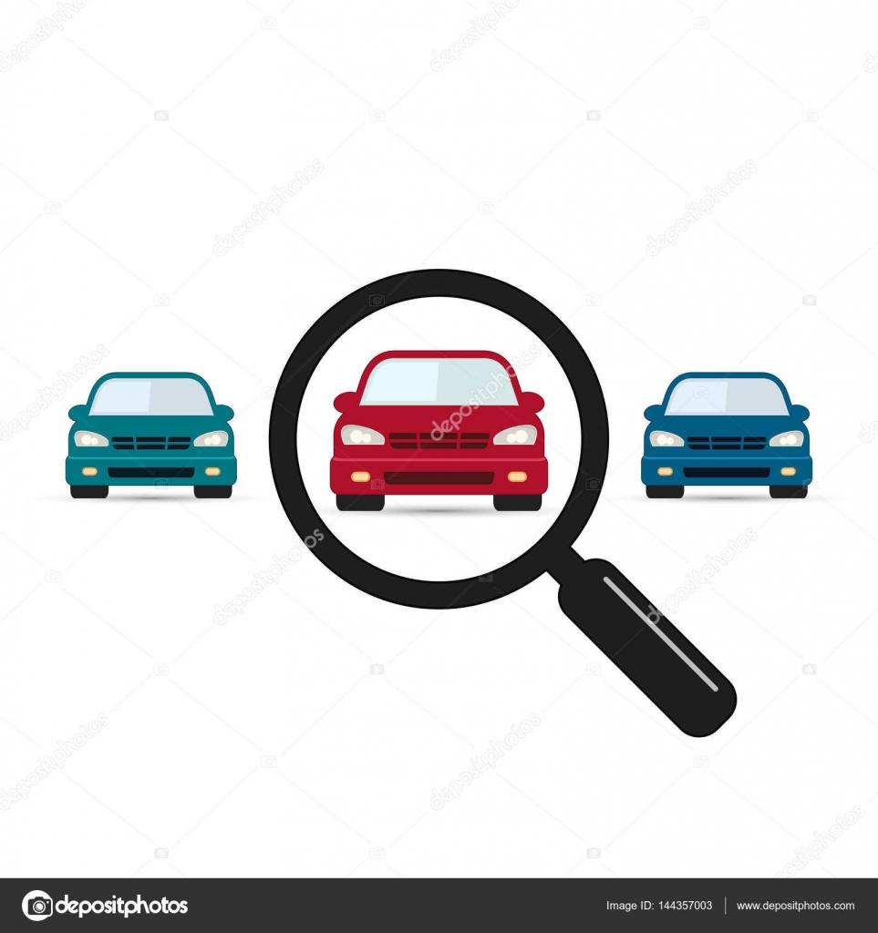 Autokennzeichen Suche Vektor Lupe Mit Auto Suche Auto Symbol Auf