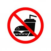 Žádné rychlé občerstvení mohou izolované na bílém symbol. Zákazová značka.