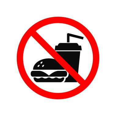 No fast food allowed symbol, isolated on white. Prohibition sign.