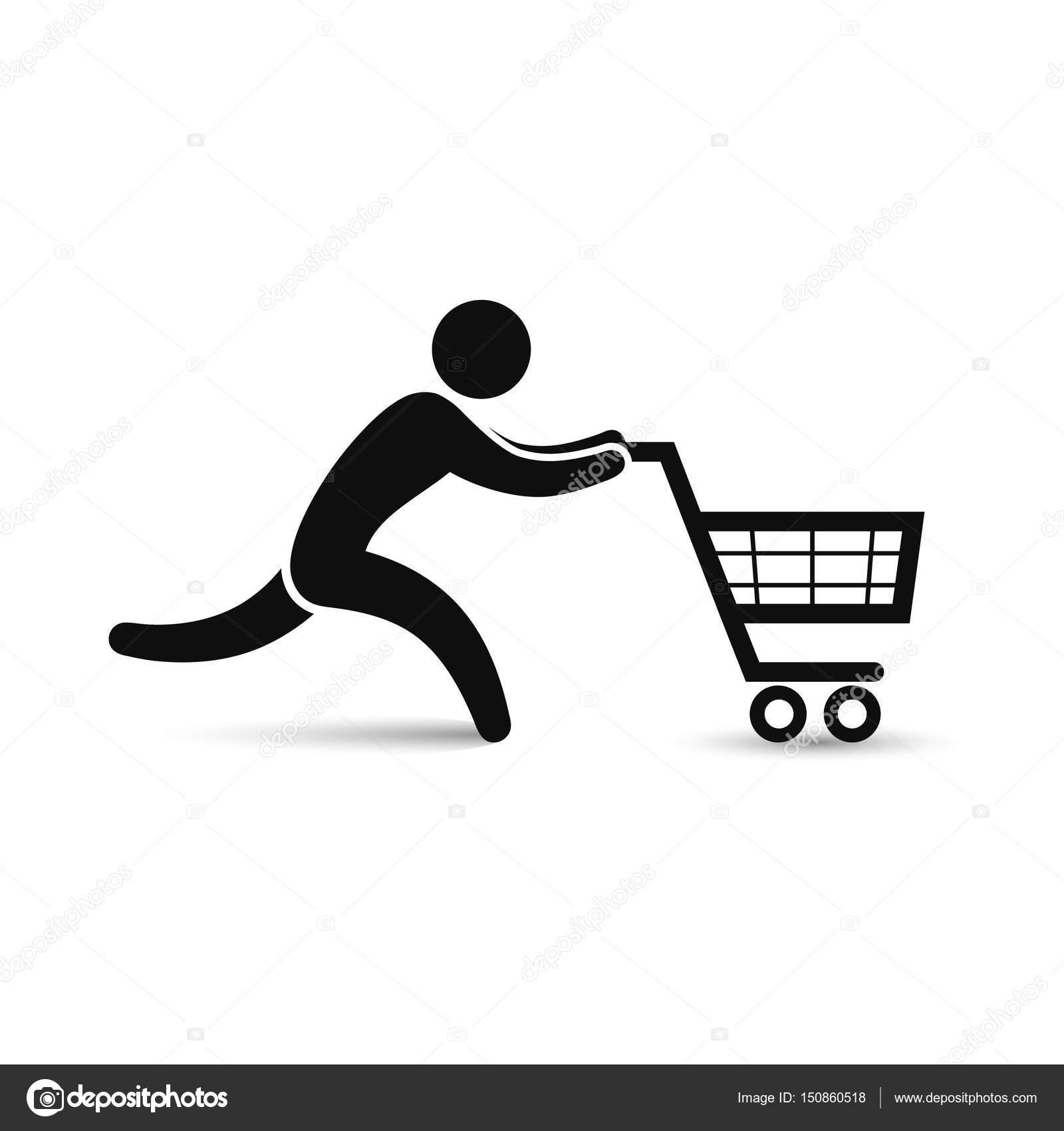 Hombre corriente pulsando el icono de carro de compras. Vector ...