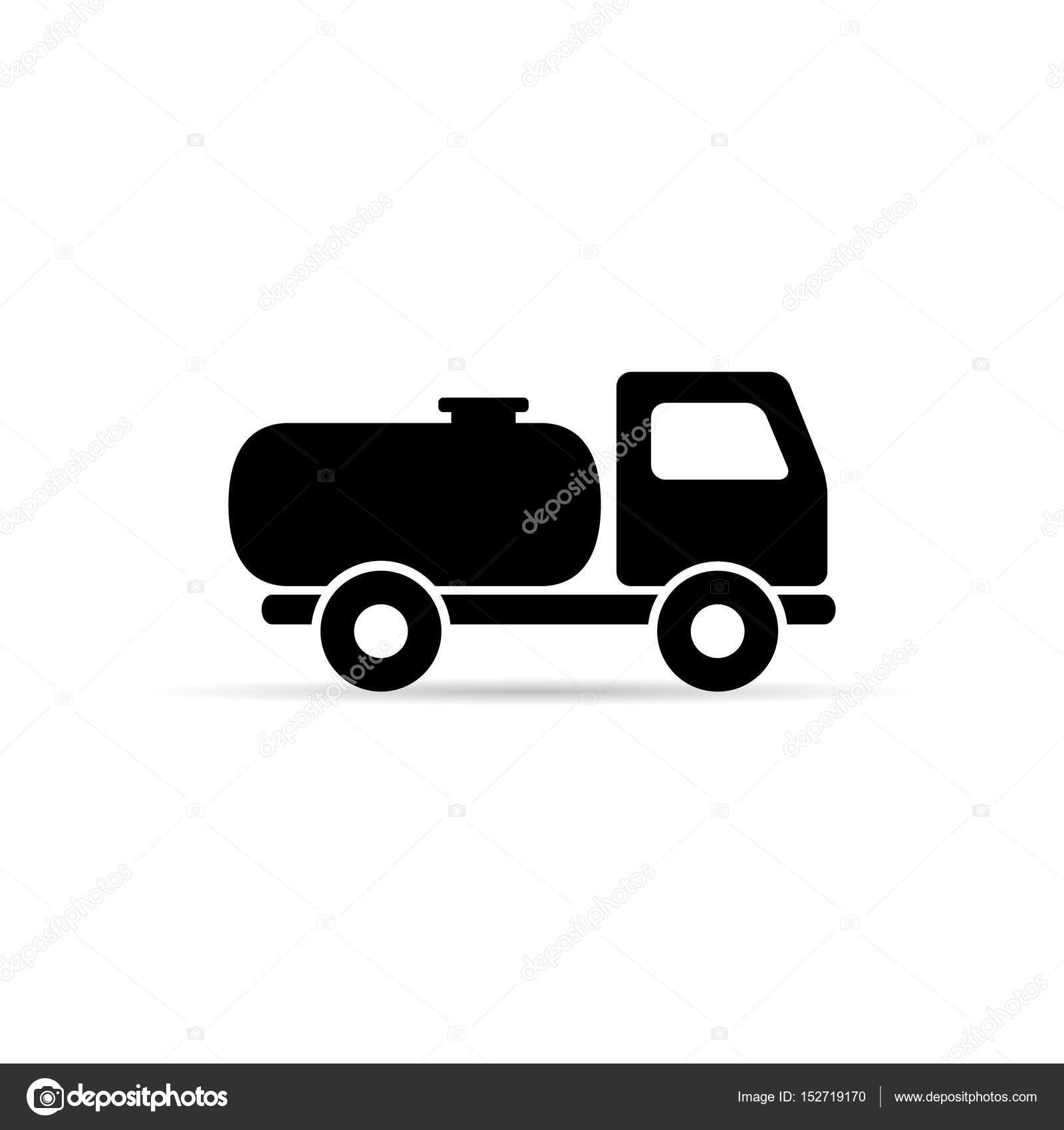 fuel tanker truck icon. simple silhouette, vector. — stock vector