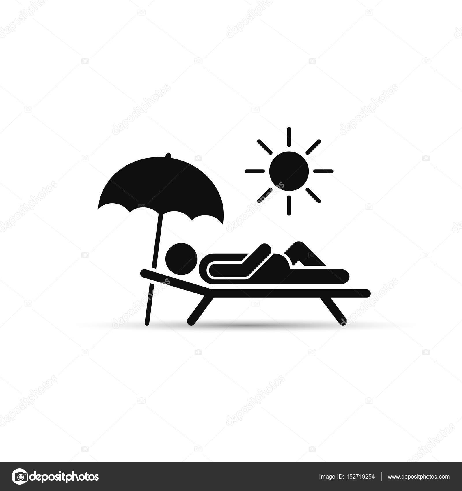 man relax on beach under an umbrella on chaise-longue. vector sea