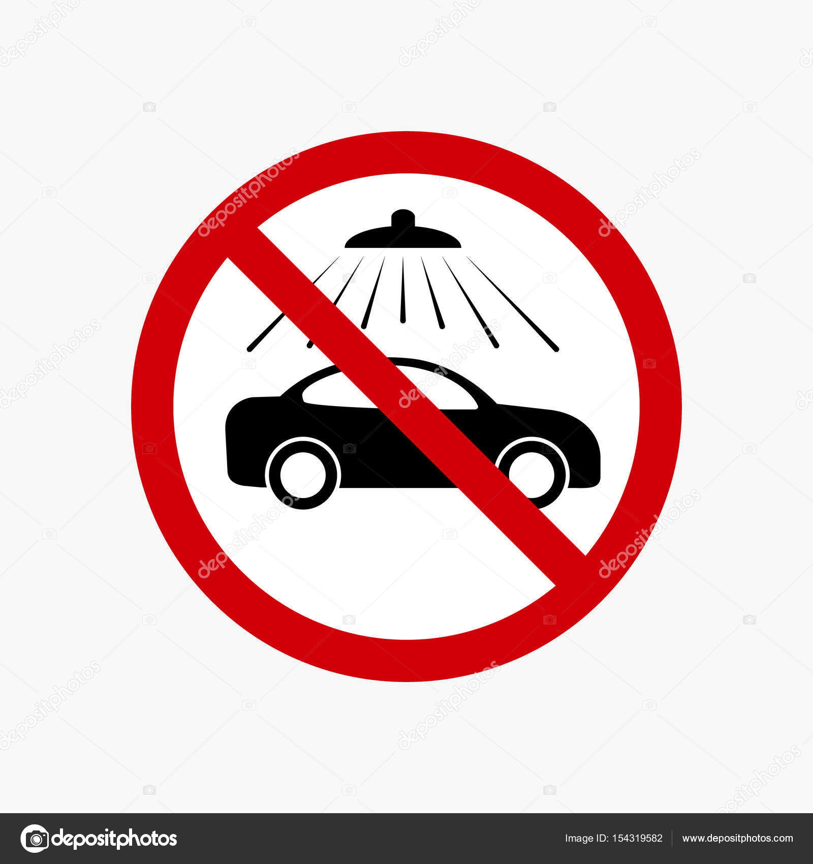 No Car Wash Sign Vector Carwash Prohibiting Symbol Stock Vector