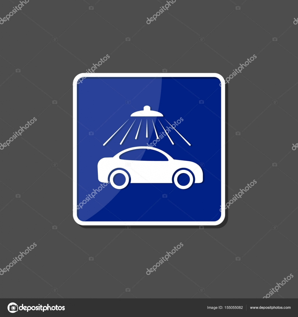 Car Wash Sign Icon On Blue Glossy Square Vector Service Symbol